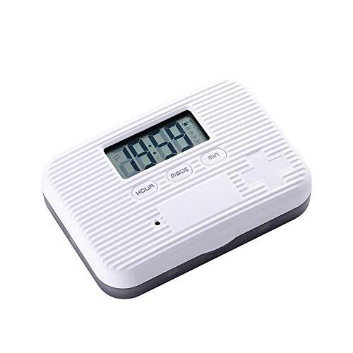Demarkt draagbare elektronische timing pille case met alarm wit+grijs.