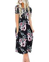DB MOON Women Summer Casual Short Sleeve Dresses Empire Waist Dress with Pockets (Flower Black, XS)