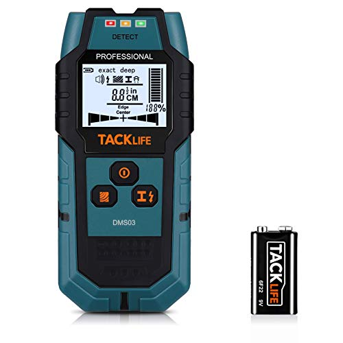 TACKLIFE Stud Finder Upgraded Wall Scanner, 4 in 1 Center Finding Electronic Wall Detector Finders with Warning, Four Scan Modes for Wood Stud/Metal/Live AC Wire/Deep Detecting - DMS03