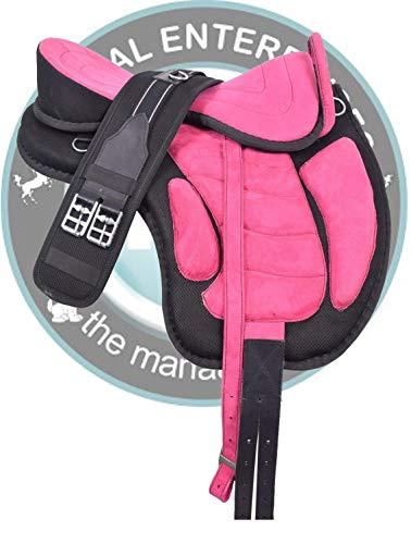 Deen, Enterprises FREEMAX - Sillín de caballo inglés sintético sin árbol con asa + correa, correas de piel, tamaño 14 a 18 pulgadas asiento (asiento de 35,5 cm, color rosa y negro)