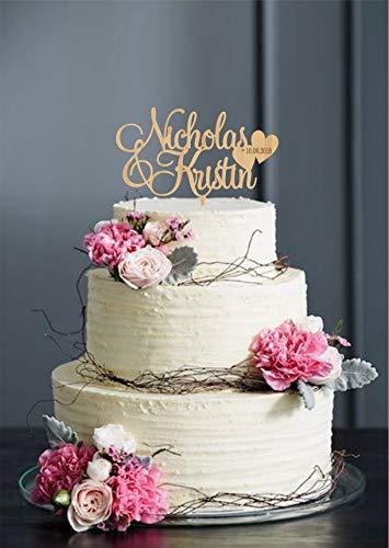 Vornamen Tortenaufleger für Hochzeit Hochzeit Topper mit Namen Herz Hochzeit Tortenaufsatz Holzaufsatz Golden Cake Topper Silber