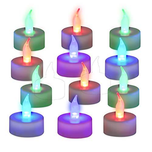 Relaxdays 12er Set LED Teelichter Farbwechsel, flammenlose Deko, Batteriebetrieben, elektronische Stimmungslichter, bunt
