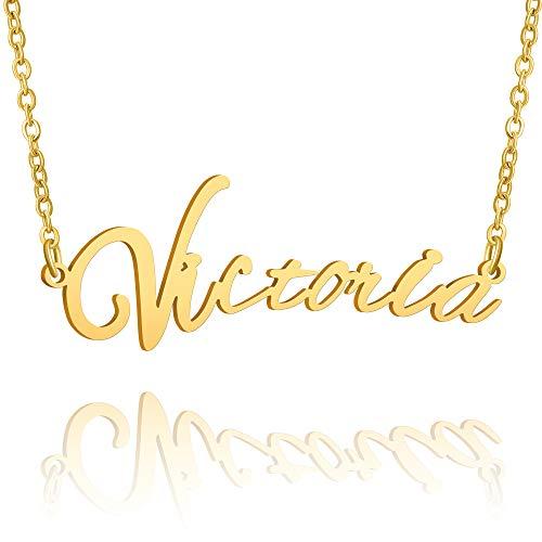 BUREI Collar con Nombre Personalizado para Mujer, Collar con Colgante Dorado de 14 K, Regalos para Victoria