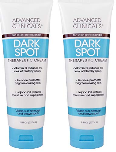 Advanced Clinicals Dark Spot Therapeutic Cream with Vitamin C. Hydroquinone Free. For Age Spots, Blotchy Skin. Face, Hands, Body. Large 8oz Tube. (Two - 8oz)