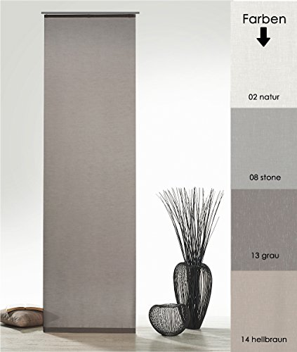 fashion and joy Flächenvorhang Natur Batist Optik inkl. Zubehör HxB 245x60 cm in grau - Schiebegardine einfarbig matt Natural Chic Gardine Typ410