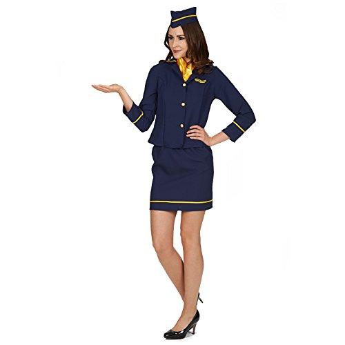 Stewardess Kostüm für Damen 4-tlg. Gr. 36 38 - Tolles Flugbegleiterin Damenkostüm für Karneval oder Mottoparty