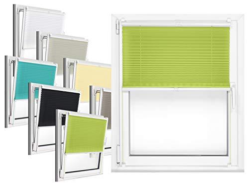 npluseins Plissee - vormontiert und mit Klemmfixierung am Fensterahmen - kinderleichte 3-Step Montage, ca. 90 x 220 cm, grün