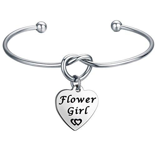 FEELMEM Flower Girl Bracelet Simple Love Knot with Heart-Shaped Engraved Message Charm Bangle Bracelet- Flower Girl Jewelry for Wedding/Engagement-Family Wedding Reunion Gift (Silver)