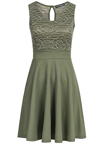 Styleboom Fashion® Damen Mini Kleid Spitze Oben Brustpads ärmellos Military grün, Gr:L
