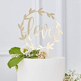 Kuchen-Aufsatz Love Gold Acryl / Kuchen-Stecker / Torten-Aufsatz / Hochzeit-s-Dekoration / Kuchen-Deko / Hochzeit-s-Torte / Cake Topper