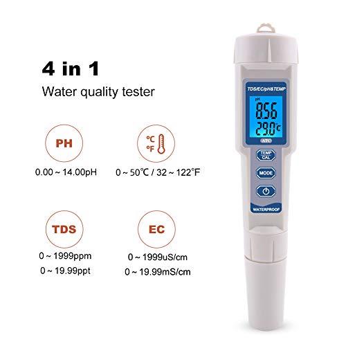 APPLL Digitale Wasserqualität-Test Meter, PH Meter, 4-In-1 Digital-PH TDS EC Thermometer Meter Prüfvorrichtung Wasserqualität PH-Feder Für Schwimmbäder Wasseraquarien Trinken