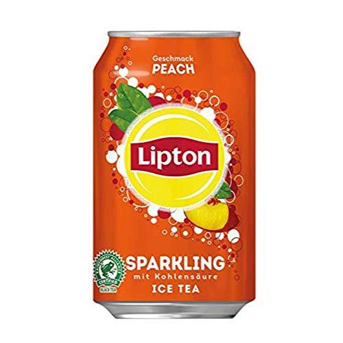 LIPTON ICE TEA Sparkling Peach, Eistee mit Kohlensäure und Pfirsich Geschmack (24 x 0.33l)