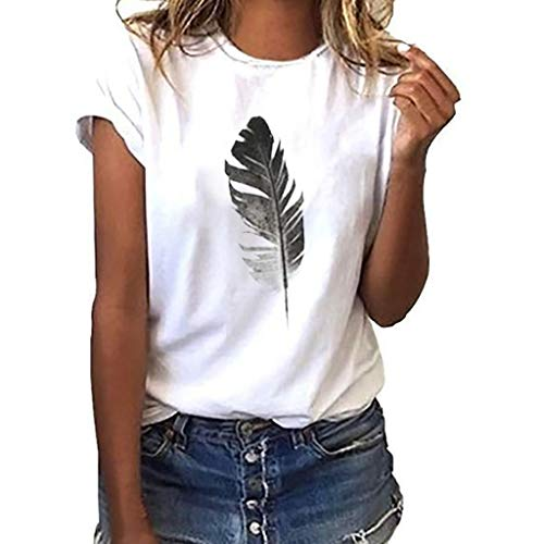 PASATO Blouse For Women Casual Round-Neck Top Tee Loose Short-Sleeved Feather Print T-Shirt (White,L=US:M)