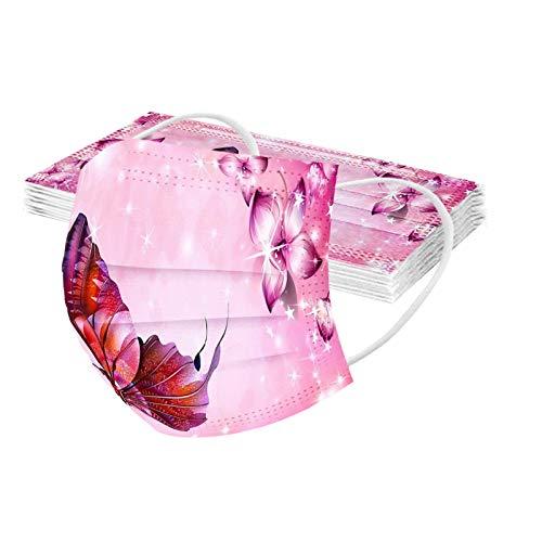 N / C 10 Adultos Unidades Moda De_Mascarilla_ D_esechables con Estampado de Mariposas Respirable De Color Variedad Estilos para picnics al Aire Libre Adecuado para Viajar 3 𝓒𝓪𝓹𝓪𝓼