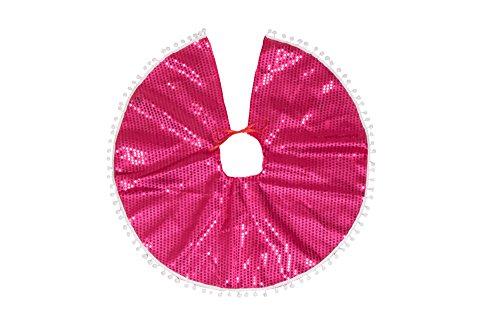 Clever Creations - Cache-Pied pour Sapin de Noël - à Sequins/Bordure - décoration de fête - empêche la sève de Tomber sur Le Sol - idéal pour Les Petits sapins - Rose/Blanc - Ø 63,5 cm