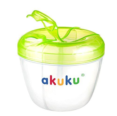 AKUKU Milchpulver Portionierer Baby grün transparent   4 Kammern bpa-frei ab 0 Monate   Milchpulver Aufbewahrung