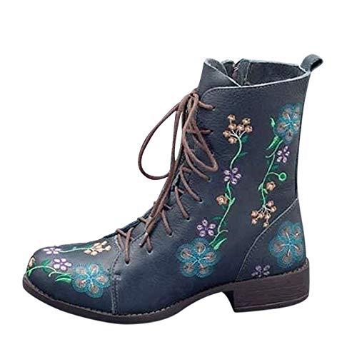 Stivali Donna Boot Bikers Boots Stivaletti Stivali Donna Moda Casual Tacchi Quadrati Scarpe Lunghe alla Caviglia (39,Blu)