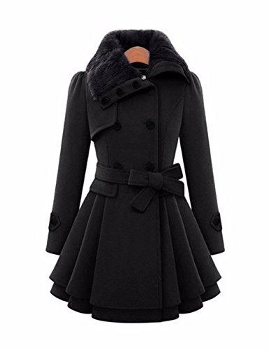 EMMA Damen Winter Fashion Mantel mit Pelzkragen Faux Fur Reverskragen Zweireiher Knopf Dick Wolle Gefaltet Saum Trench Mantel Kleid Jacke(BL,M)