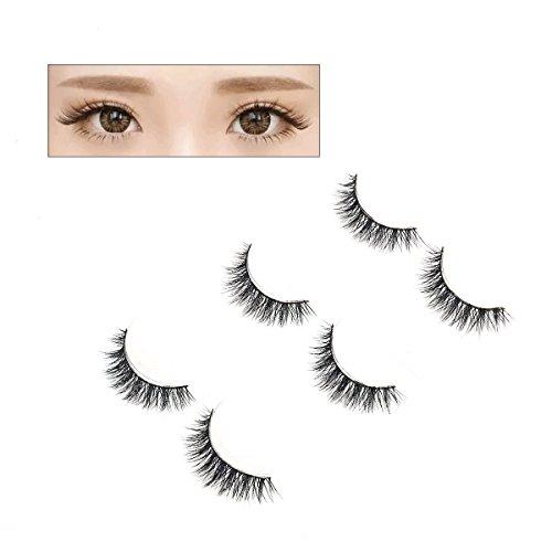 Frcolor 3 Pairs Natural Soft 3D Cils faux Mink Hair Long épais cales pour femmes Gril Lady (MRC105)
