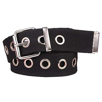 Women's Fashionable Canvas Web Hole Grommet Buckle Casual Jeans Dress Long Waist Punk Belt (One Size, Black)
