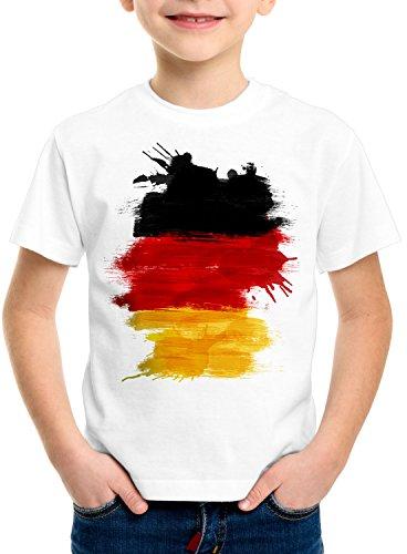 CottonCloud Flagge Deutschland Kinder T-Shirt Fußball Sport Germany WM EM Fahne, Farbe:Weiß, Größe:140