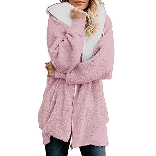 iHENGH Damen Winter Jacke Dicker Warm Bequem Lose Parka Mantel Lässig Mode Frauen Robuste übergroße Zip Down Hooded Fluffy Cardigans Outwear mit Tasche Coat(Rosa, M)
