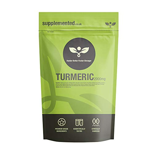 Turmeric 2000mg 180 Tablets High Strength UK Made Supplement Letterbox Friendly Turmeric Extract (Curcumin) Vegan Joint Health