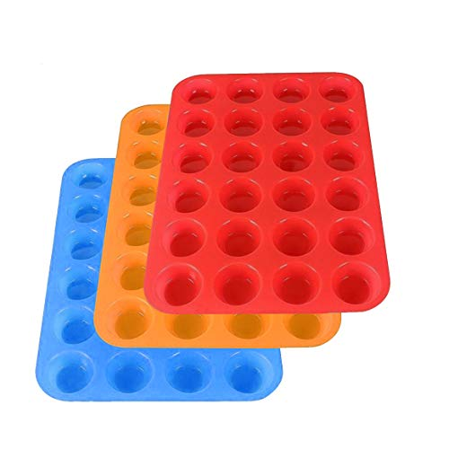 3 Pack Silicone Mini Muffin Pan, YuCool Silicone Muffin Tins Baking Molds, 24 Cups Silicone Mold Cupcake Baking Pan (Orange, Red, Blue)