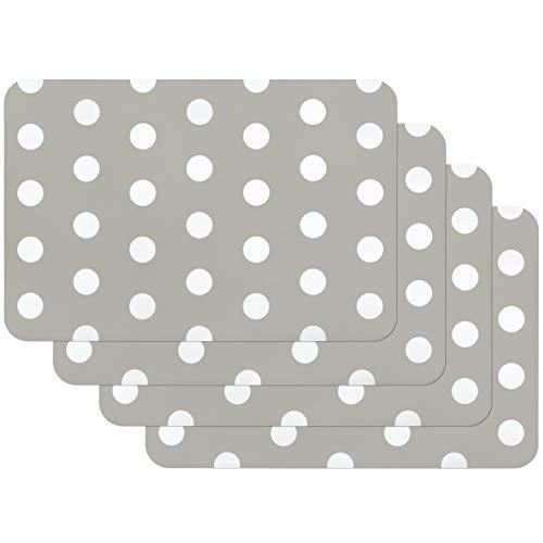 Venilia Grey Motif Salvamanteles Lunares, Mantel Individual, Paquete con 4 Unidades, Puntos Grises, 30 x 45 cm