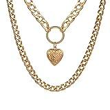 Declaración de collar de collar Hip Hop Big Chunky Aluminio de color oro colgante colgante colgante para mujeres