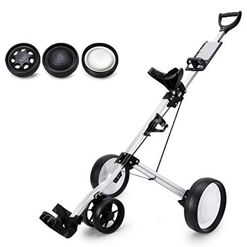 Z&HA 3 Räder Golf-Trolley, faltbares Design Einstellbare Golf Trolley liefert einfache Carry mit Ständer Golf Push Cart,Four Rounds