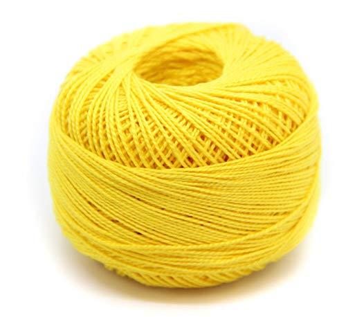 NTS Nähtechnik Häkelgarn aus 100% Baumwolle Baumwollgarn Baumwollfaden zum Sticken, Häkeln, Schmuck, Basteln (gelb, 1)