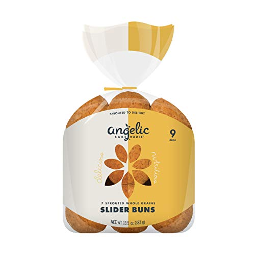 Angelic Bakehouse Slider Buns Pack – 13.5 Ounce, Pack of 3 – Sprouted Whole Grains – Vegan, Kosher and Non-GMO (27 Buns)