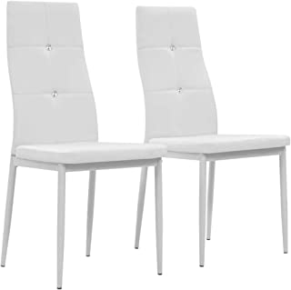 Tidyard 2 Unidades Sillas Cocina Sillas Salon Sillas de Comedor Cuero sintético Blanco 43 x 43,5 x 96 cm