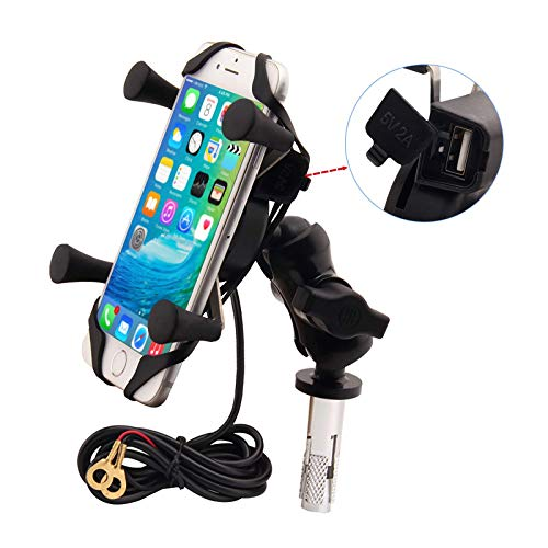 Motorcycles Phone Mount with Charger Grip Mobile Phone Holder GPS Navigation Bracket for BMW S1000RR Suzuki GSX 1300R Hayabusa GSX-R 600 750 1000 Yamaha YZF Kawasaki Ninja Honda CBR