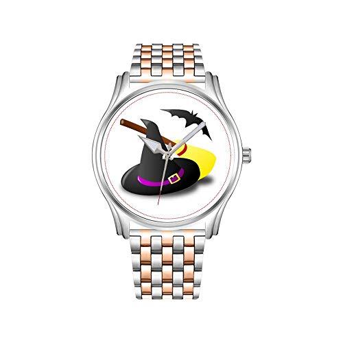 Reloj de pulsera para hombre, oro rosado, acero inoxidable, deportivo, reloj de negocios, bruja, escoba y Halloween