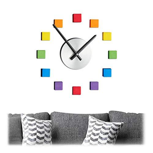 Relaxdays Reloj de Pared DIY, Reloj Adhesivo de Pared, diseño de arcoíris,...