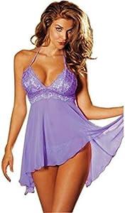 ZAGO Pijamas Atractivo de Las Mujeres Ropa Interior de Mujer Vestido de Encaje Ropa Interior Ropa de Dormir Pijamas Damas Tallas Grandes Tanque de Verano (Color : Lake Green, Size : XL)