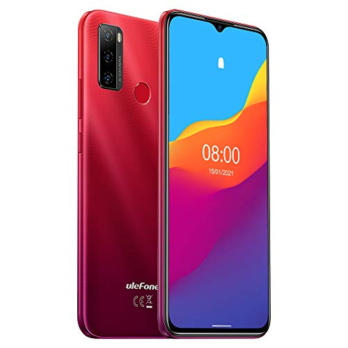 Ulefone NOTE 10 (2021), Android 11 Smartphone Offerta, 6,52' Cellulare, Octa-Core 2GB + 32GB, 8MP + 8MP Quad Camera, Dual SIM, Batteria 5500mAh OTG, Sblocco Impronta Digitale FM Rosso