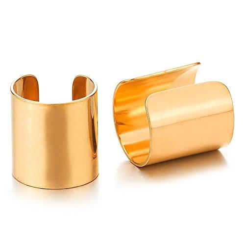 2 Stück Gold Ohr Clip-on Creolen Cuff für Herren Damen, Edelstahl Ohr Manschette Ohrringe, Fake Piercing