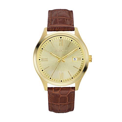 Caravelle - Reloj de cuarzo para hombre, acero inoxidable y cuero, color marrón (modelo: 44B119)