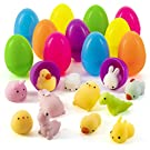 Prextex 12 Toy Filled Easter Eggs Filled with Squishy Anxiety & Stress Relief Easter Trinkets