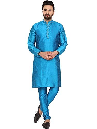 mannen tuniek art zijde kurta pyjama ingesteld etnische Indiase slijtage