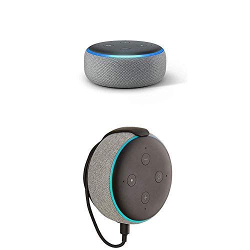 """Echo Dot (3rd Gen) bundle with""""Made for Amazon"""" Mount for Echo Dot - Heather Grey"""
