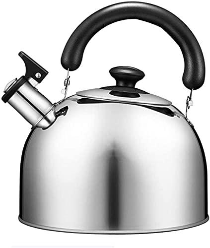EIERFSKIOT Tetera Acero Inoxidable Tetera inducción hervidor de Agua Hervidor con Silbato Hervidor de té con silbido de Acero Inoxidable de 3 litros - Tetera con silbido para Estufa con Mango