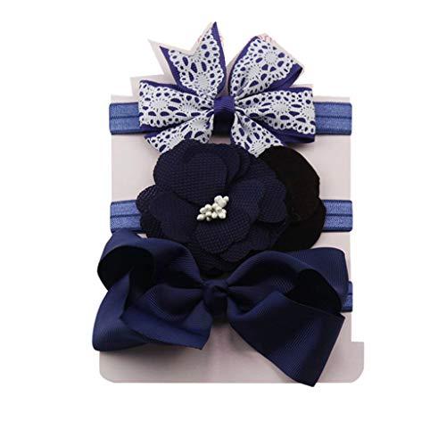 Yookstar 3 Stück Baby Stirnbänder mit Schleife flower Baby Mädchen Neugeborenen Elastisch Haarband Set,Stirnband Weich Kopfband Babyschmuck Babygeschenke & Taufe,Dark Blau