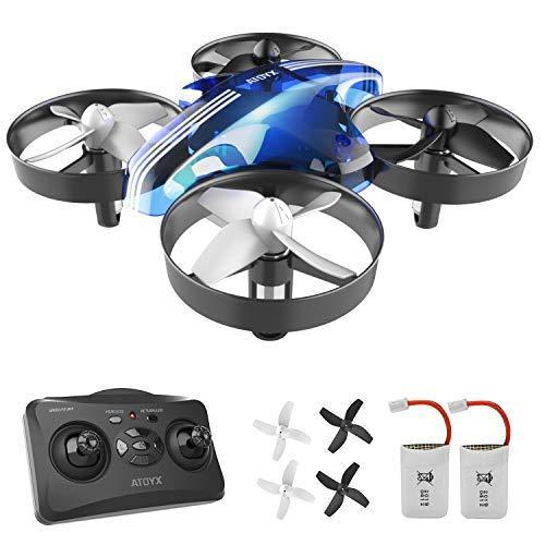 ATOYX Mini Drone, RC Drone 2.4G 4 Canales 6-Axis Gyro, Quadcopter con Modo sin Cabeza, Altitud Hold, Alarma de Batería y 3 Modos de Velocidad, Regalos y Juguetes, AT-66B(Azul)