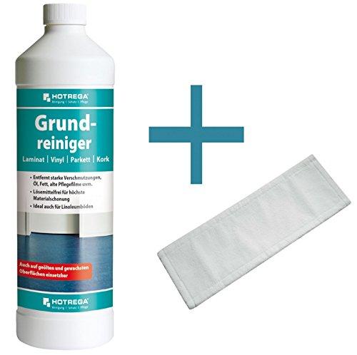 HOTREGA Grundreiniger Laminat Vinyl Parkett Kork 1L SET + Microfasermopp 40 cm