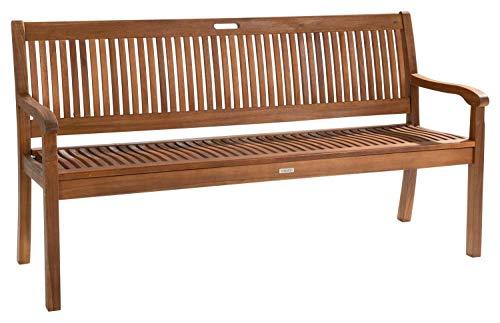Möbel Jack Gartenbank Sitzbank Balkonbank Loungebank 3-Sitzer | Akazienholz | Naturfarben | BxHxT 158 x 88 x 60 cm