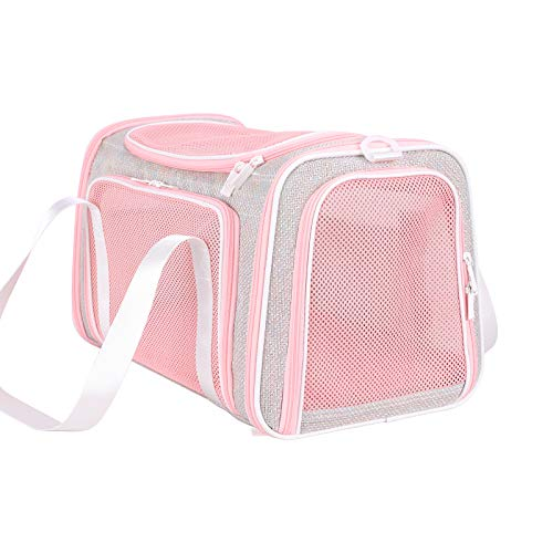 petisfam Pet Carrier for Medium Cats and Small Dogs with Washable Cozy Bed, 3 Doors and Shoulder Strap. Easy to get cat in, Easy to Storage and Escape Proof (Fantasy Pink)